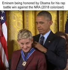 Rap Battle Meme - eminem being honored by obama for his rap battle win against the nra