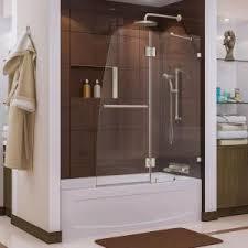 dreamline aqua 48 in x 58 in semi framed pivot tub shower door