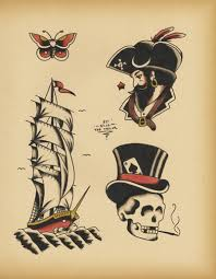 roses and daggers pirates tattoo flash roses tattoo design
