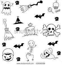 hand drawing halloween icons bat stock vector 459121372