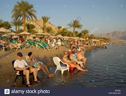 Chairs Israel Israel Red Sea Eilat The North Beach People Sitting On Plastic