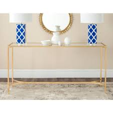 rose gold console table safavieh antwan gold tempered glass top console table fox2546a and