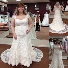 plus size wedding gowns 2017 western cap sleeve trumpet lace