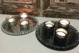 vintage tea light holders candles on tray crystal edged mirror plate tea light holders vintage