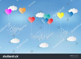 valentines day writing paper balloon heart paper cut writing happy stock vector 545636089 balloon heart paper cut and writing happy valentine s day on blue sky background