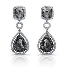 black drop earrings white gold black diamond drop earrings