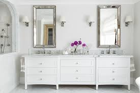 White Wooden Bathroom Storage by Bathroom Double Wall Mirror Design Ideas With White Wooden