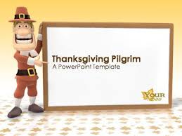 thanksgiving pilgrim a powerpoint template from presentermedia