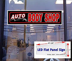 led lights for body shop amazon com led flat panel light up sign auto body shop 48 x12