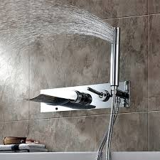Wall Bathroom Faucet by Finish Color Changing Wall Mount Tub Faucet With Hand Shower At