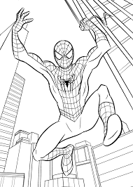 spider man jumps coloring pages for kids printable free coloring