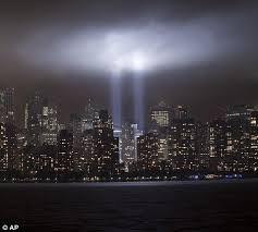 9 11 Memorial Lights 9 11 Anniversary Twin Towers Of Light And A Waterfall Of