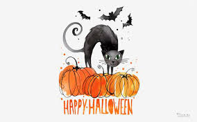 black cat halloween wallpaper happy halloween with black cat and clipart hd wallpaper