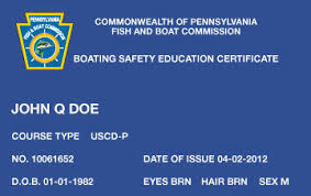 pennsylvania boater education cards certificates boat ed