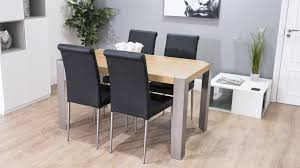 Modern Oak Dining Table And Real Leather Chairs Funky Brushed - Funky kitchen tables and chairs