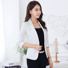 tenue de bureau femmes slim blazer court veste bouton unique blazer femmes businss