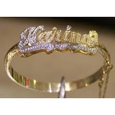 Gold Baby Name Bracelets Nikfine Personalized 14k Gold Overlay Baby Double Id Name Bangle
