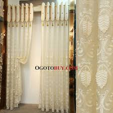 elegant beige sheer curtain embroidered with leaves pattern