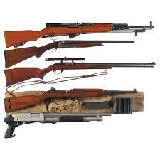 five long guns a chinese sks semi automatic rifle with bayonet