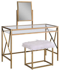 Makeup Vanity With Chair Lillian Contemporary Glass Vanity Table With Stool Contemporary