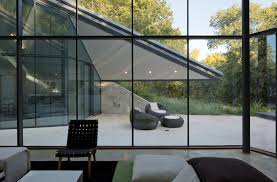 interior glass walls for homes charming glass wall house paired with modern wood panels