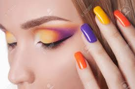 blond woman with manicure beautiful model with make up and