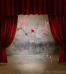 Studio Curtain Background 3x5ft Indoor Red Curtain Concrete Wall Flower Petals Wedding