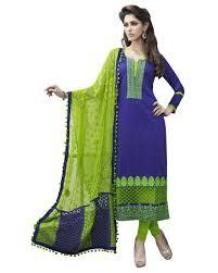 Combination Of Blue by Buy Salwar Studio Blue U0026 Green Cotton Unstitched Churidar Kameez