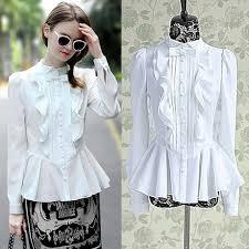 vintage blouse 2018 vintage white polyester shirt peplum shirt sleeve