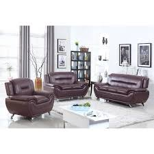 Brown Faux Leather Sofa Ufe Norton Brown Faux Leather 3 Modern Living Room Sofa