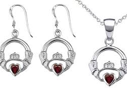 claddagh set garnet claddagh ring etsy
