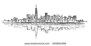 new york city outline sketch refection stock vector 465419837