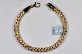 5mm diamond mens diamond franco bracelet solid 14k yellow gold 3 20 ct 5mm 8