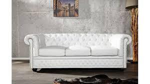canapé capitonné design lit capitonné chesterfield blanc en pvc de haute qualité avec rivets