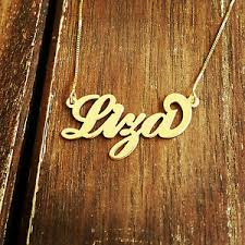 Gold Personalized Name Necklaces Gold Personalized Name Necklace Carrie Style 14k Solid Gold Any