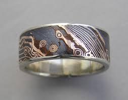 mokume gane wide 18kt gold and shakudo mokume gane band with white gold