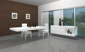 dining room features white glass table top white high gloss table