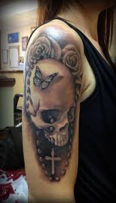 realistic butterfly skull rose and rosary tattoos photo 2 real