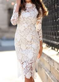 white floral lace knee length dress featuring crew neck and three