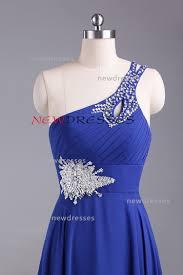 blue one shoulder applique long bridesmaid dress prom dress