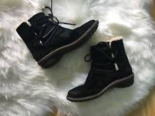 ugg bryce womens 1009177 blk ugg boots size 8 ankle austraila bryce black leather 1009177