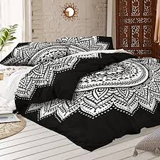 amazon com black and white mandala duvet cover with two pillow