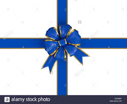 blue and gold ribbon christmas gift with a blue and gold ribbon isolated a white