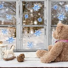 online get cheap peel and stick wall murals aliexpress com funlife christmas blue snowflakes decals diy wall mural wall sticker for kids decoration peel stick
