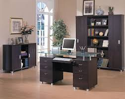 glass top office desk espresso finish contemporary office desk w glass top