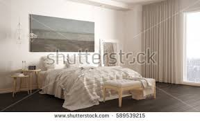 Minimalistic Bed 3d Illustration Interior Bedroom Minimalist Style Stock