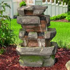 Solar Powered Water Features With Led Lights by Garden Fountains Outdoor Water Features Kmart