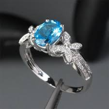 butterfly engagement rings 399 oval blue topaz engagement ring pave wedding 14k