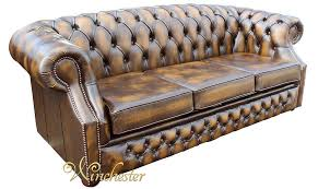 Oxford Leather Sofa Chesterfield Oxley 3 Seater Antique Gold Leather Sofa Offer