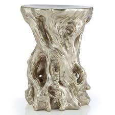 tree stump accent table silver accent table